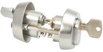Trioving S5525 lock cylinder set, satin chrome finish